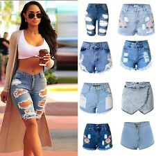 2017 Womens Ladies Vintage High Waist Stretch Ripped Denim Jeans Shorts Hotpants