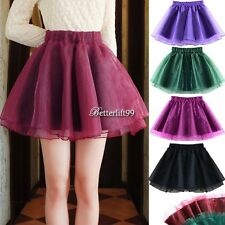Women High Waist Slim Organza Tutu Mini Skirt A-line Pettiskirt Flared YA@
