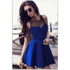 Women Fashion Spring Summer Sleeveless Evening Party Stitching Mini Dress