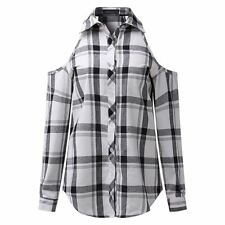 Women Off Shoulder Long Sleeve Casual Lapel Plaid Shirt Plus Size