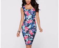 Women Summer Fashion Printed Sleeveless Tall Waist Tight Knee-length Dress