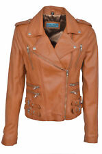 DESTINY Ladies TAN Biker Style Fitted Soft Nappa Leather Jacket Wash&Wax Vintage