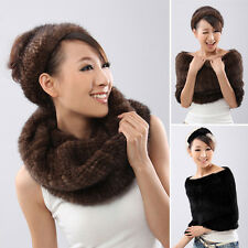 Women's knitting Real Genuine New Mink fur Cape Shawl Neck Warmer Scarves Stole