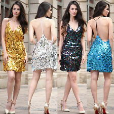Sexy Ladies Sequin Backless Mini Strappy Evening Cocktail Party  Dress Size 8-20