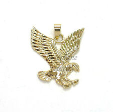14k Gold Plated Yellow Detailed Design Eagle Charm Pendant Animal Bird