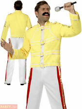 Mens Freddie Mercury Costume Adult 80s Queen Fancy Dress Freddy Rock Star Outfit
