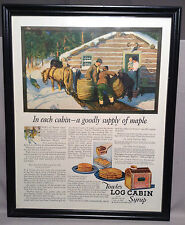 Framed 1922 vintage magazine ad Towle's Log Cabin Syrup color illustrated 11x14""