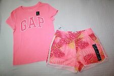 NWT Gap Kids Girl's Sequin Logo Tee & Knit Floral Shorts Outfit size S, M