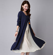 Fashion Womens Layered Long Sleeve Cotton Linen Loose Dress Korea Size Outwear