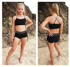 Black and Black Polka Dot Tie Side Childrens Dance Shorts and Matching Crop Top