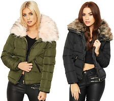 Womens Faux Fur Collar Coat Jacket Ladies Puffa Long Sleeve Zip Pocket Lined