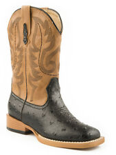 Roper Mens Square Toe Black Faux Ostrich Leather Western Cowboy Boots