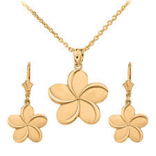 14k Yellow Gold Hawaiian Plumeria Flower Pendant Necklace & Matching Earrings