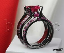 Sterling 925 Silver Engagement & Wedding Ring Set Pink Sapphire Black Rhodium =