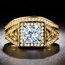 Luxury 18k Yellow Gold Plated Princess Cut White Sapphire 2pc New Ring Size 7-9