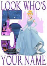 Disney Princess Cinderella Personalised Girls T-Shirt Age 5 Ideal Gift/Present