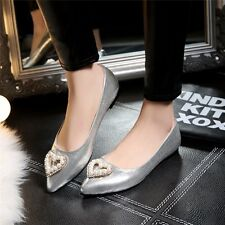 Womens Patent Leather Love Flat Heels Shoes Ballerinas Pointed Toe Ballet Flats