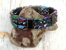 Men's Women's 100% Magnetic Hematite Bracelet Necklace Anklet 3 row Rainbow