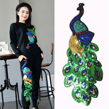 Women Sequin Peacock Patches For Clothing Embroidered Appliques DIY Sewing Craft