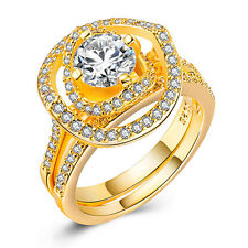 18k Yellow Gold Plated Round Cut White Sapphire Elegant Wedding Ring Size 6-10