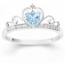 Simulated Blue Topaz Heart and White CZ Sterling Silver Crown Ring. Free Deliver