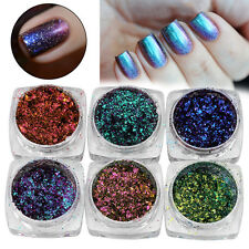 6/12Color Nail Glitter Mirror Chrome Effect Dust Magic Shimmer Color Changing CL
