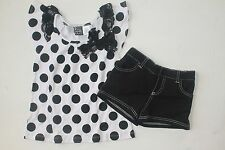 NWT Pogo Club Girls 7-8 White Black Dot Summer Top Shorts Outfit Set