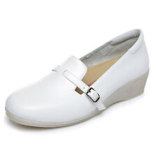 New Nurse Work Shoes Women Round Toe Leisure Loafers Comfy Slip-On Leather Shoes