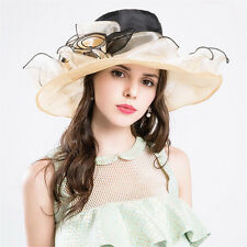 Kentucky Derby Hat Women Wide Brim Bridal Tea Party Wedding Hat With 4 Flowers