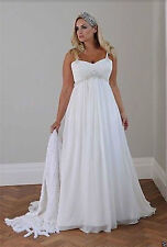 White/Ivory Chiffon Maternity Clothes Wedding Dress Gown Can Be Size 14-26
