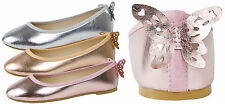 Girls 3D Butterfly Metallic Party Shoes Slip On Ballet Pumps Ballerinas Size