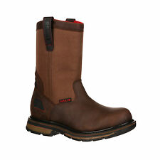 Rocky Mens Medium Brown Leather Hauler Composite Toe WP Work Boots