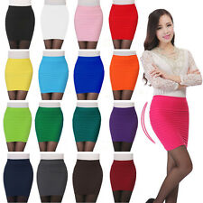 New Sexy Women Mini Skirt Pleated Seamless Stretch Tight Slim Candy Pencil Dress