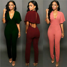 Summer Women Ladies Clubwear Playsuit V-neck Bodycon Jumpsuit Romper Trousers