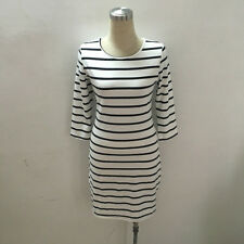 Women Round Neck Fashion Black and White Striped Long Sleeve Casual Dress