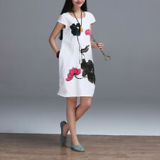 Women New Fashion Cotton Linen Loose Casual Printing Short Sleeve Dress DR-0219