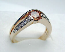 Size 5-9 Channel set lady's champagne sapphire cz 10kt rose gold filled ring