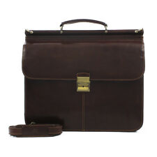 "Tony Perotti Italian Leather 15.4"" Laptop Double Compartment Briefcase"