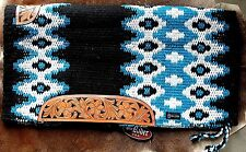 34x36 Horse Wool Western Show Trail SADDLE BLANKET Rodeo Pad Turquoise 36291C. H