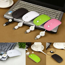 Retractable Wire Mini Ultra Thin Candy USB Optical Mouse For PC Laptop Macbook