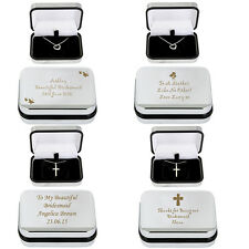 Personalised Silver Necklaces Bridesmaids Valentines Gifts Engraved Chrome Box