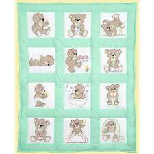 Stamped White Quilt Blocks 9 Inch X 9 Inch 12/Pkg-Teddy Bears 013155158922