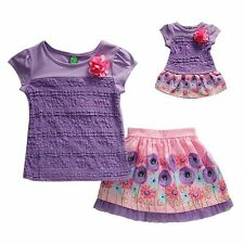 """Girl 5-14 and 18"""" Doll Matching Lace Top Floral Skirt Clothes fit American Girl"""