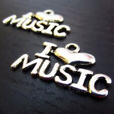 I Love Music Antiqued Silver Plated Charm Pendants C3856 - 5, 10 or 20PCs