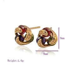 Fashion 18K yellow Gold filled  Colorful crystal Crystals Womens Stud Earrings