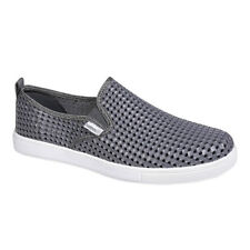 Mens Holees Leon Grey/White Lightweight Breathable Slip On Trainer Style Shoes