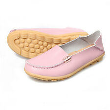 Womens Casual Driving Leather Shoes Moccasin Flat Peas Lazy Loafers Slip On New