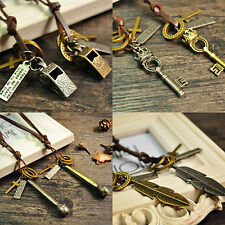 Unsex Leather Rope Leaf Shoe Key Feather Ring Pendant Cord Necklace Clever