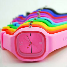 Men Women Square Dial Jelly Silicone Sport Quartz Simple Wrist Watch Clever