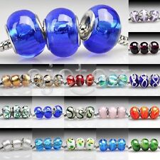 5/10pcs Murano Glass Beads Lampwork Round Fit European Bracelet Lots LB2